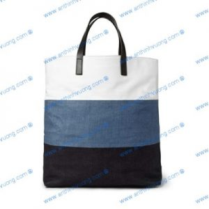 Túi vải bố phối da và jean cotton